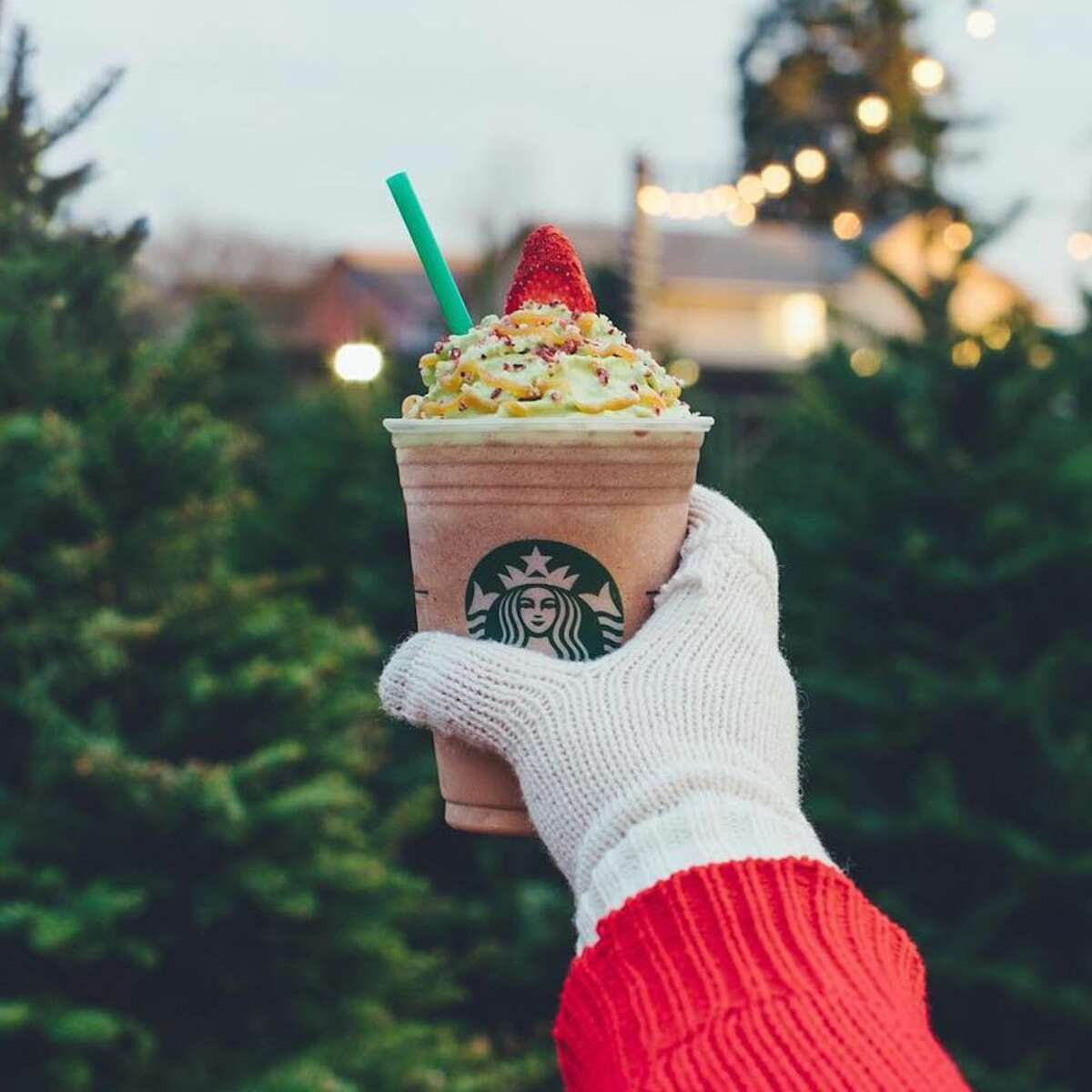 Christmas Tree Frappuccino - United States and Canada: Christmastime is meant to involve festive treats, and this mocha and peppermint drink is fit for the occasion. The Christmas Tree Frappuccino is topped with matcha-infused whipped cream, caramel drizzle, candied cranberries, and a strawberry
