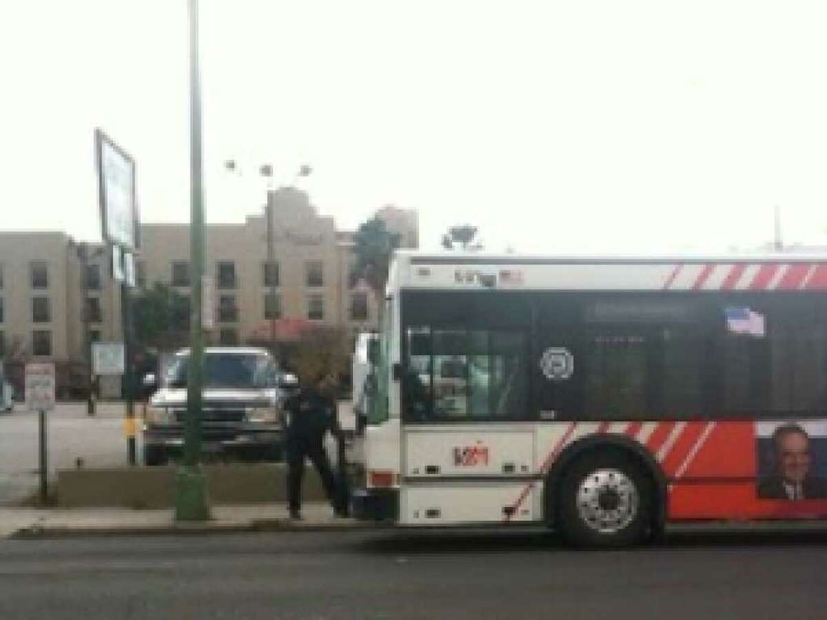 The woman was struck by a bus traveling on VIA's Route 54 around 1 p.m. on West Nueva Street at St. Mary's Street.