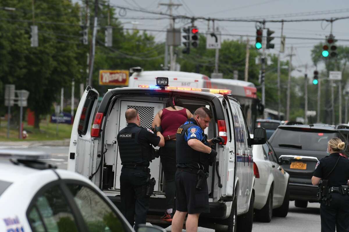 A suspect is taken into custody after a person was stabbed on Central Avenue Wednesday, June 3, 2020.