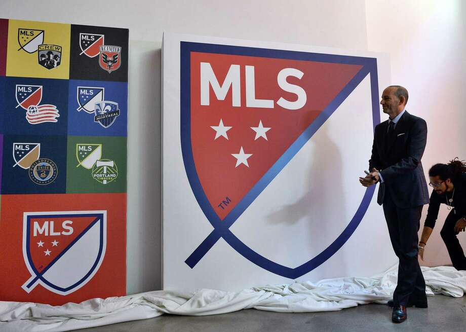 (FILES) In this file photo taken on September 18, 2014 Major League Soccer (MLS) commissioner Don Garber unveils the MLS logo during an event in New York on September. - Major League Soccer said May 28, 2020 teams can now hold outdoor training sessions with groups of up to six players as the sport gradually moves towards a return from the coronavirus shutdown. A league statement said teams were now free to conduct small-group training sessions as long as they did not conflict with local public health regulations. (Photo by Jewel SAMAD / AFP) Photo: JEWEL SAMAD, AFP Via Getty Images / AFP or licensors