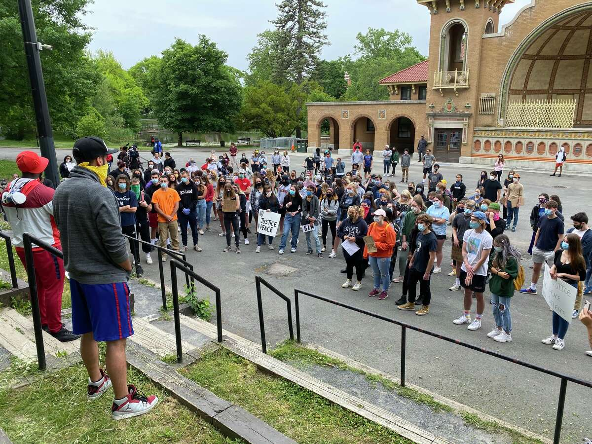 Demonstrators gather in Albany's Washington Park for the latest rally against police brutality in the United States. The rally moved from the park into the neighborhoods to the south.