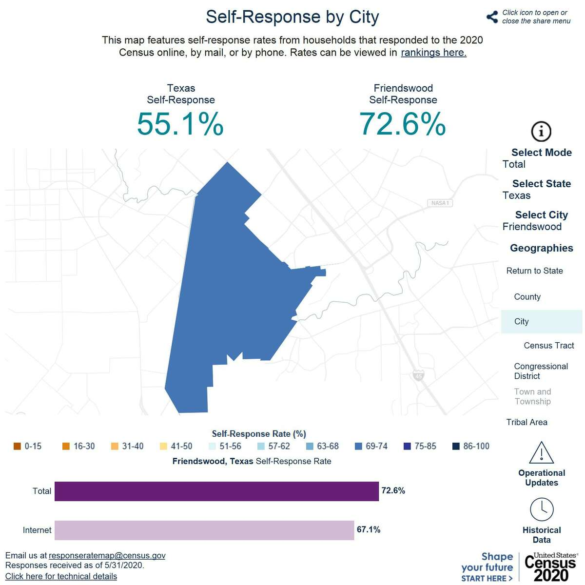 A map on the 2020 U.S. Census site shows the recent response rate for Friendswood residents.