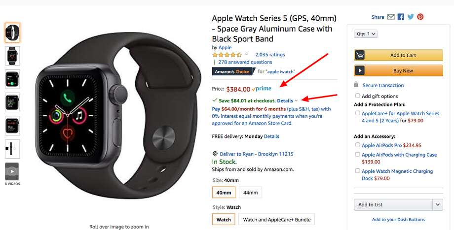 The Apple Watch Series 5 44mm is down to $299.99 right now on Amazon. Photo: Amazon/Hearst Newspapers