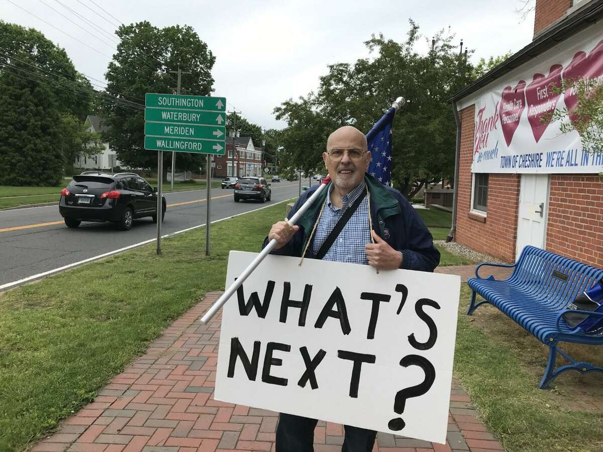 Richard Sullo of Cheshire spent spent several hours in front Town Hall Tuesday morning, protesting the looting and destructing of property that has occurred in cities around the country in the aftermath of the killing of George Floyd, who died last week while in the custody of Minneapolis police officers.