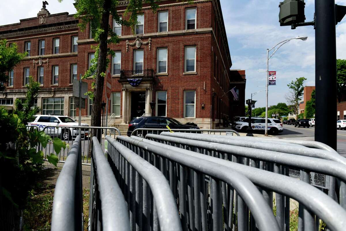 Barricades are located across the from Troy police station as the department prepares ahead of a planned Sunday protest against police brutality on Wednesday, June 3, 2020, in Troy, N.Y. (Will Waldron/Times Union)