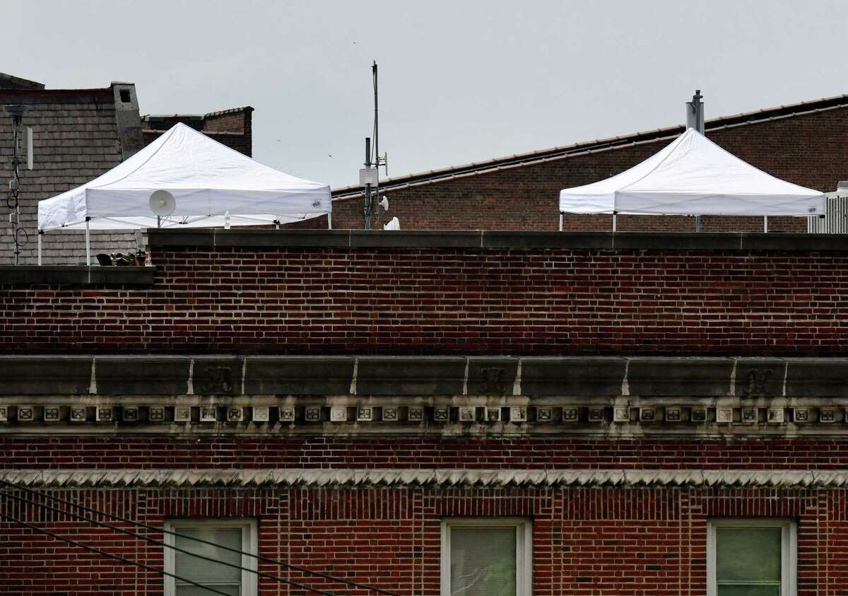 Canopies have been placed on the Troy police station roof as the department prepares ahead of a planned Sunday protest against police brutality on Wednesday, June 3, 2020, in Troy, N.Y. (Will Waldron/Times Union)