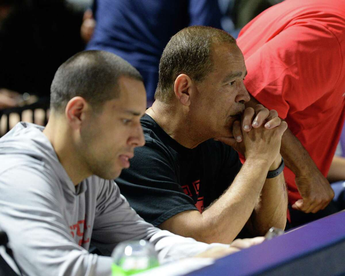 Kelvin Sampson and his son Kellen were on hand to watch the Class 6A Region III Quarterfinal basketball game between the Dickinson Gators and the Atascocita Eagles in March.