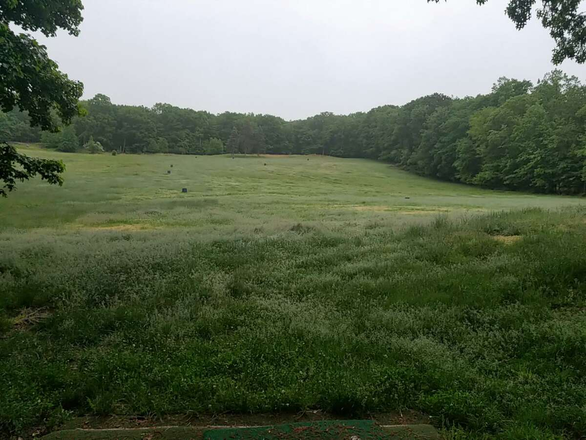 The driving range at the Yale Golf Course. The course will finally open on Monday after being closed all year.