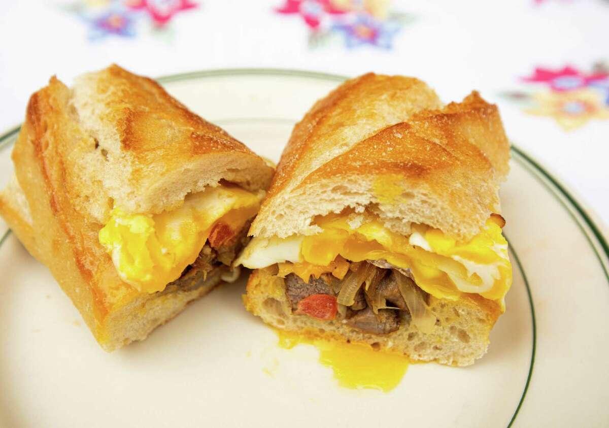A steak 'n' egg baguette is one sandwich idea for breakfast in the morning. (Rachel Ellis/St. Louis Post-Dispatch/TNS)
