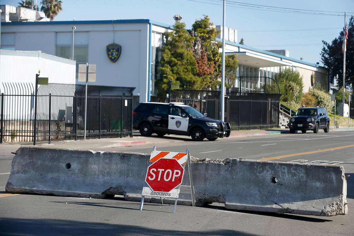 Barricades are erected on Amador Street to prevent traffic from driving past the police station in Vallejo, Calif. on Wednesday, June 3, 2020. National Guard troops were deployed in Vallejo Tuesday night as the police station became overwhelmed by crowds massing in the streets.
