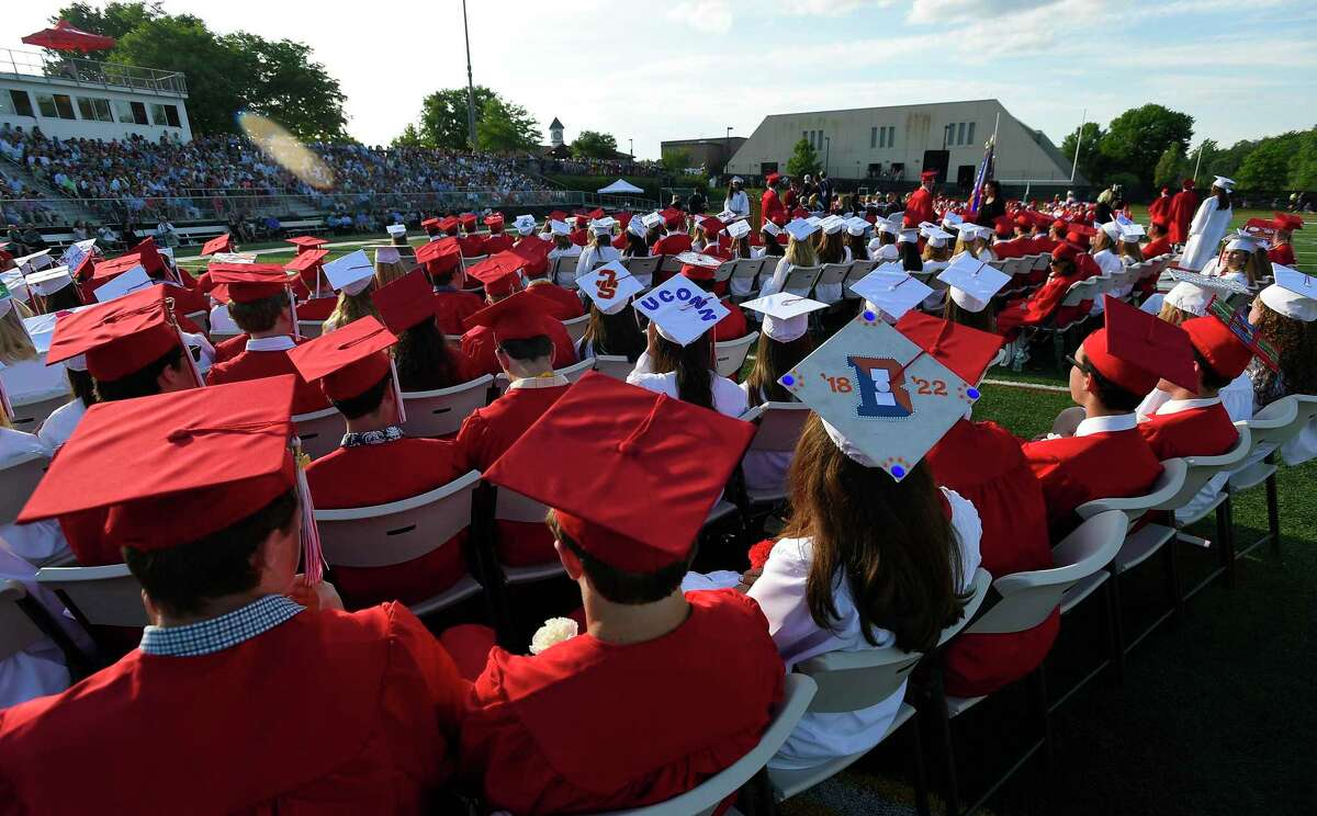 New Canaan High School holds a previous graduation ceremony at Dunning Field in New Canaan, Connecticut. A four-mile parade route for the school's graduates will be flanked with banners showing pictures of the school's Class of 2020 graduates for their graduation on Monday, June 15.