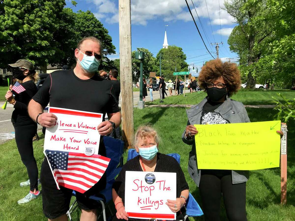 Residents gathered May 31 on the Litchfield Green to hold a demonstration showing support for the city of Minneapolis and the Black Lives Matter movement.