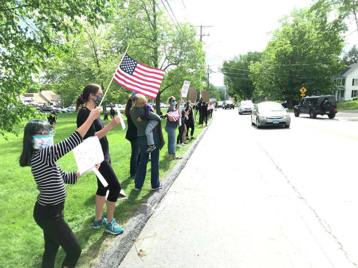 Litchfield residents gathered May 31 on the Green to hold a demonstration showing support for the city of Minneapolis and the Black Lives Matter movement.