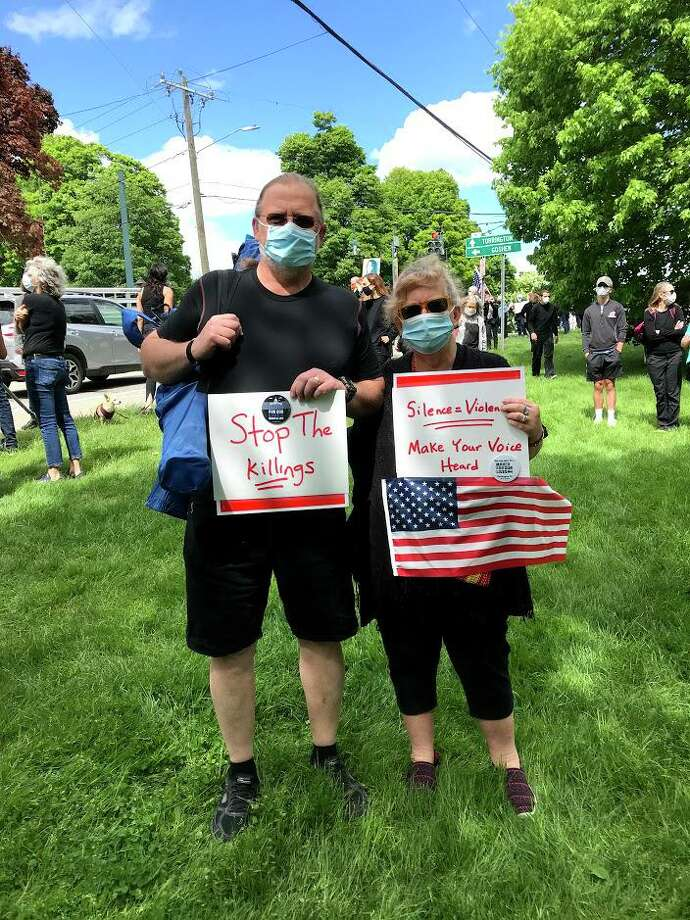 Matt and Audrey Blondin celebrated their 45th wedding anniversary by joining the demonstration for Black Lives Matter on the Litchfield Green May 31. Photo: Matt And Audrey Blondin / Contributed Photo /