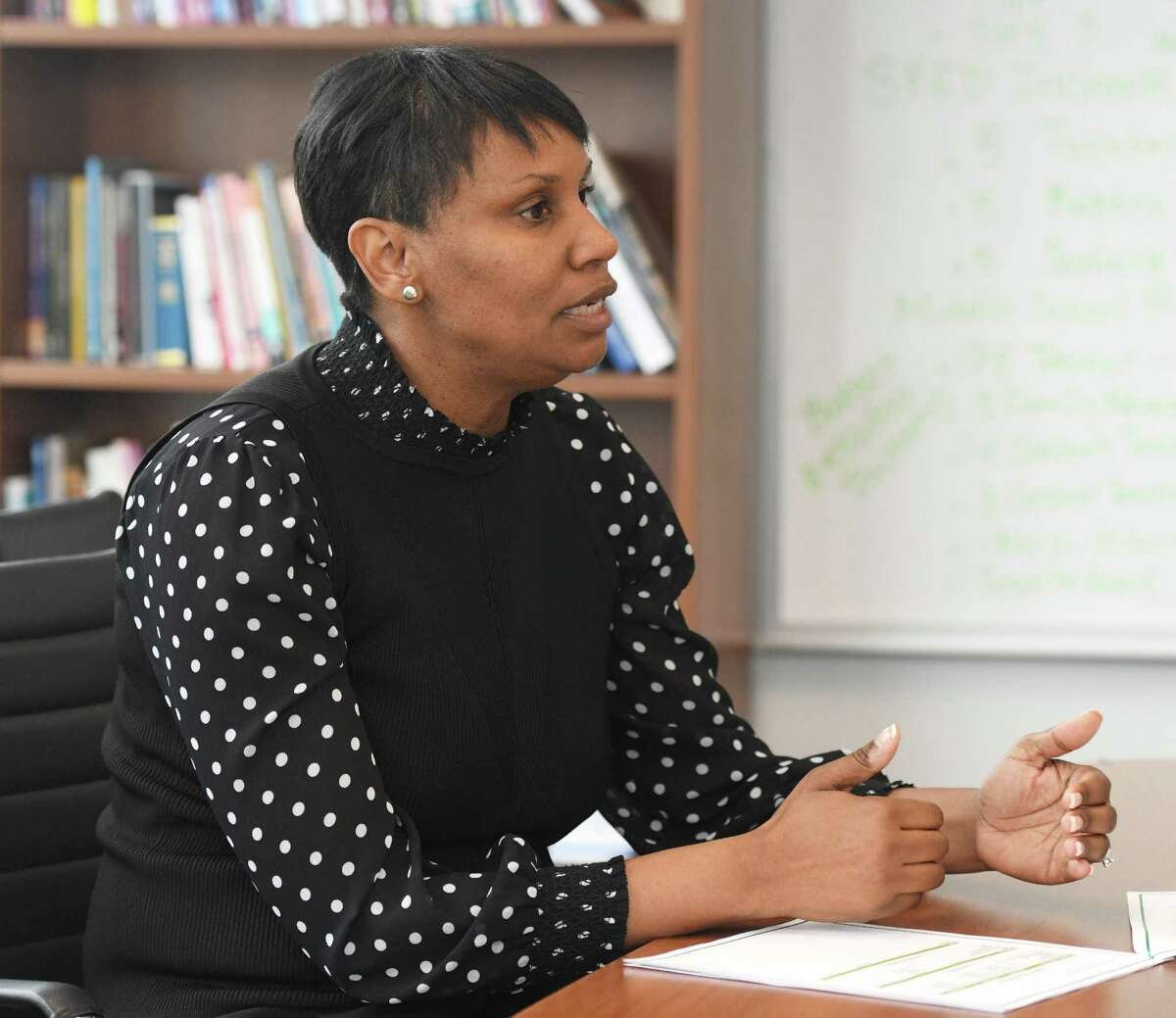 Superintendent of Stamford Public Schools Dr. Tamu Lucero discusses the 2020-2021 budget proposal in her office at the Government Center in Stamford, Conn. Tuesday, Jan. 14, 2020.