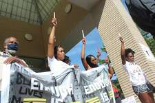 Ferris State's campus was crowded for the first time in months Wednesday afternoon as over 400 came out to peacefully protest in support of the Black Lives Matter movement. The protest was lead by Ferris State student Byron Brooks. During the nearly two-hour protest, a number of speakers - including law enforcement, city officials and students - shared their views surrounding George Floyd's recent death.
