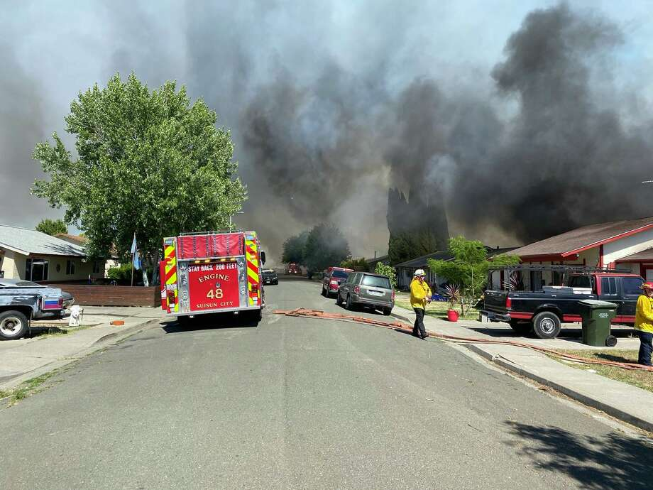 Residents in one part of Suisun City were evacuated Wednesday afternoon as a brush fire threatened several homes. Photo: Suisun City Police Department