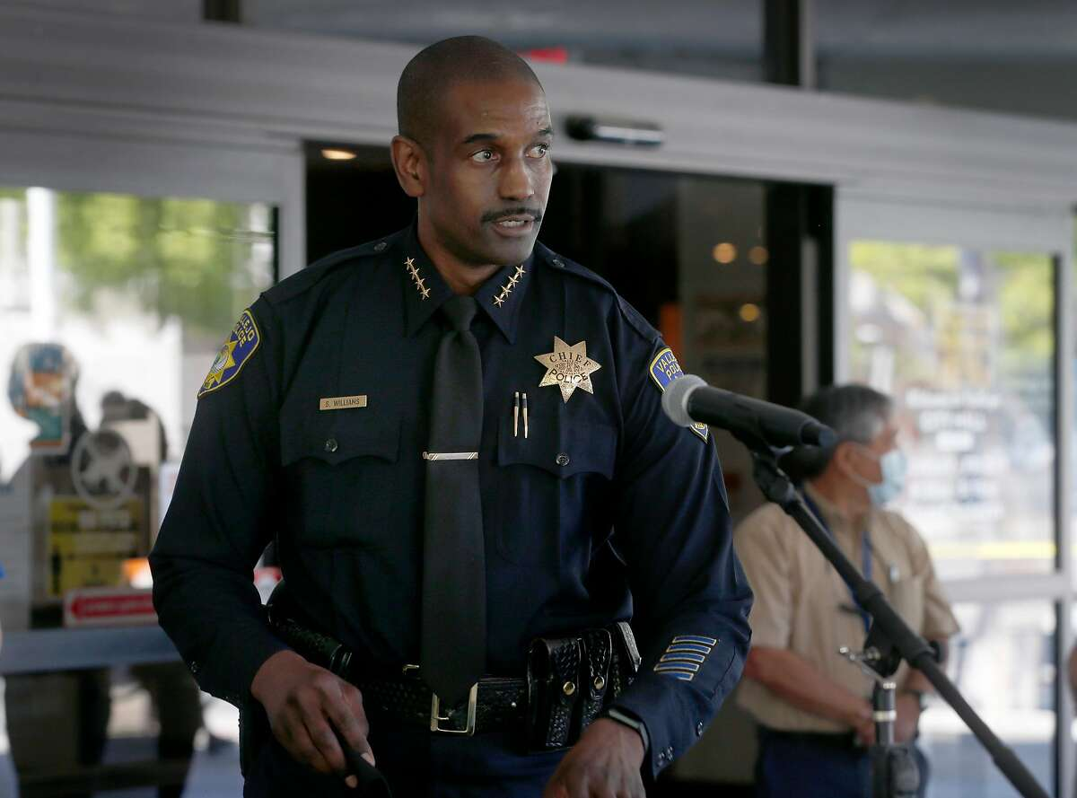 Police Chief Shawny Williams arrives for a news conference in Vallejo, Calif. on Wednesday, June 3, 2020 to discuss the officer involved shooting death of Sean Monterrosa. Monterrosa died from gunshot wounds during an encounter with police outside a Walgreens in Vallejo Monday night.