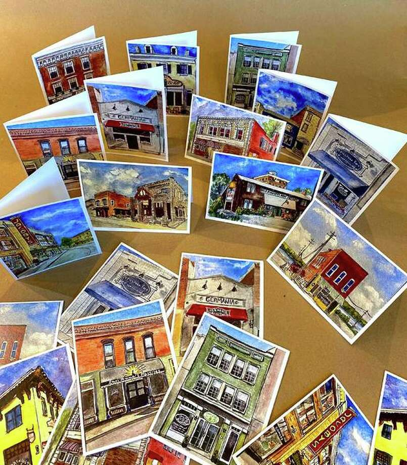 """""""Downtime Painting Downtown"""" series of notecards and postcards with painted images by watercolorist Chrissie Chapman. Photo: For The Telegraph"""