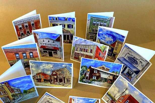 """""""Downtime Painting Downtown"""" series of notecards and postcards with painted images by watercolorist Chrissie Chapman."""