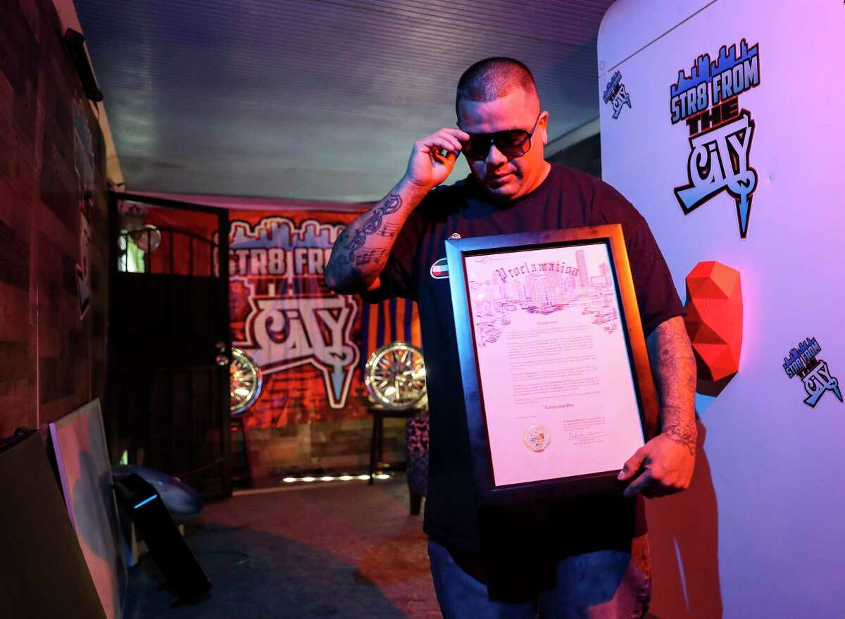 Domingo Herrera, who goes by CANDYMAN, holds a proclamation he previously received from the City of Houston during a portrait session Wednesday, June 3, 2020, at his home in Houston. Herrera was arrested Friday, May 29 while protesting in downtown Houston.