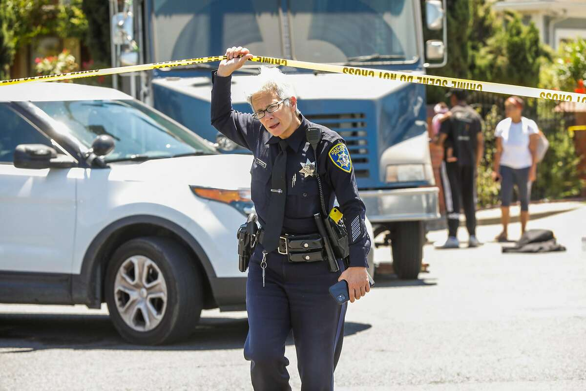A police officer at the scene where a man reportedly was holding two children hostage on Wednesday, June 3, 2020 in Oakland,California.