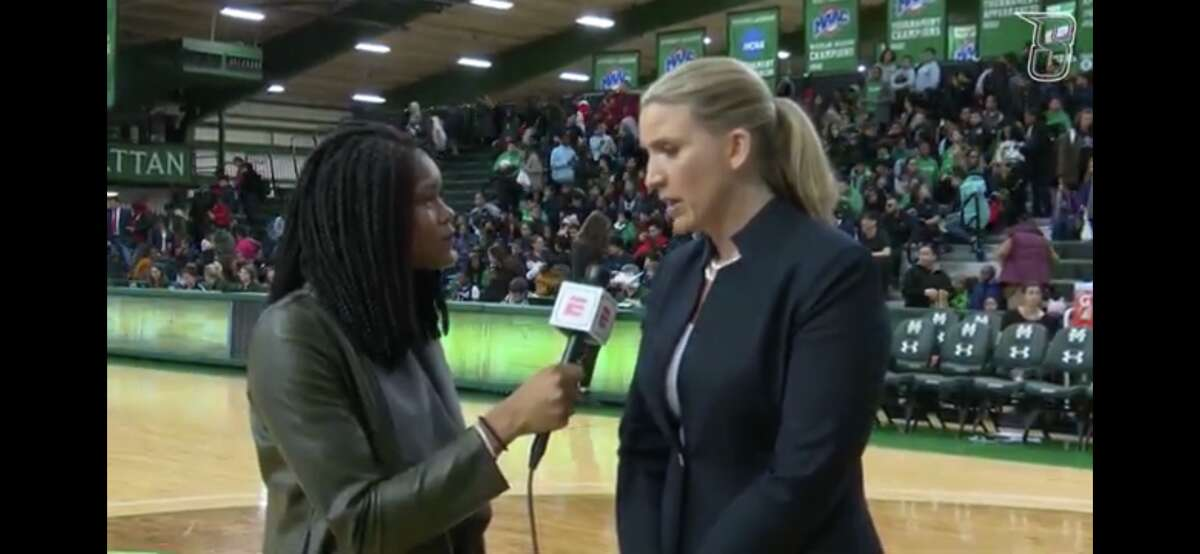 Isis Young interviews Siena coach Ali Jaques during a game last season. (Courtesy of Siena College Athletics)