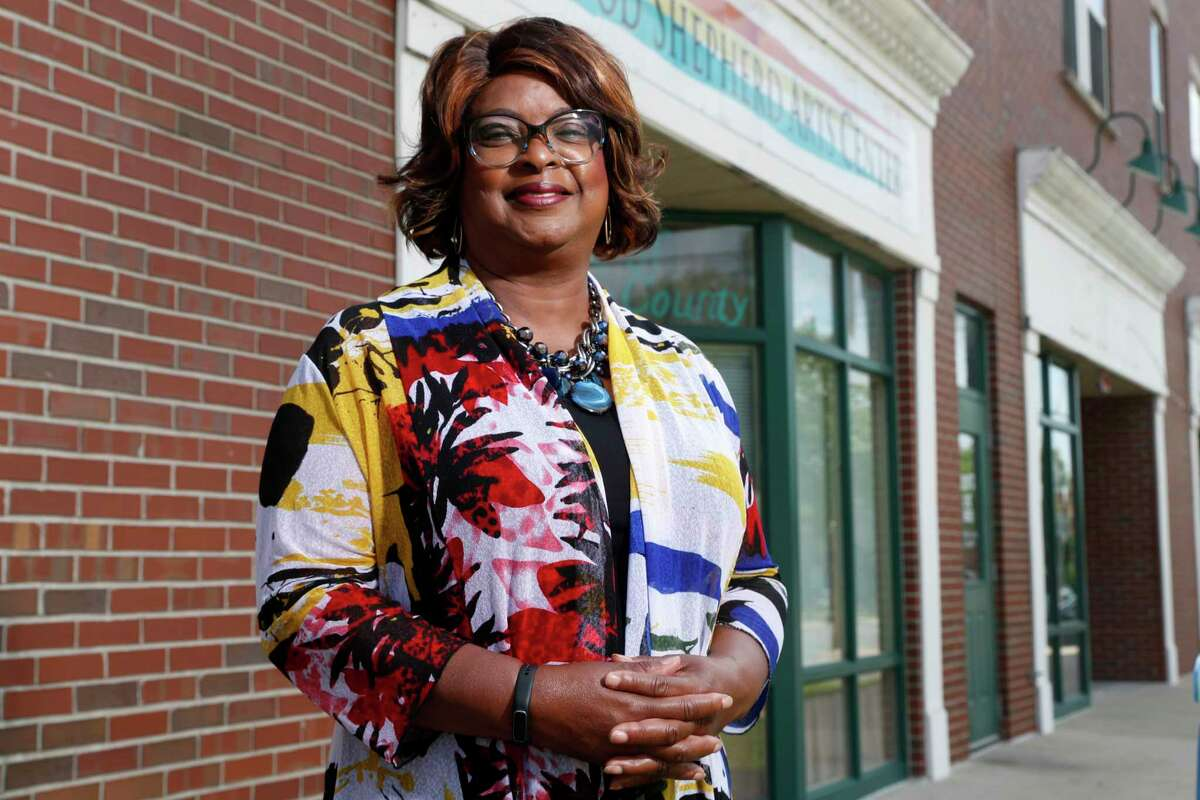 Mayor-elect Ella Jones poses for a photo Wednesday, June 3, 2020, in Ferguson, Mo. Jones, currently a city council member who was elected mayor on Tuesday, will become the first black and first woman to become mayor of the city thrust into the national spotlight after the death of Michael Brown in 2014. (AP Photo/Jeff Roberson)