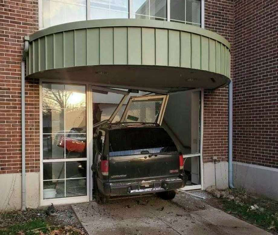 In April, a car crashed through the front doors of the Lake County Courthouse building causing significant damage. Lake County Administrator Tobi Lake said repairs to the entrance are moving along, and new glass should be installed soon. (Herald Review file photo)