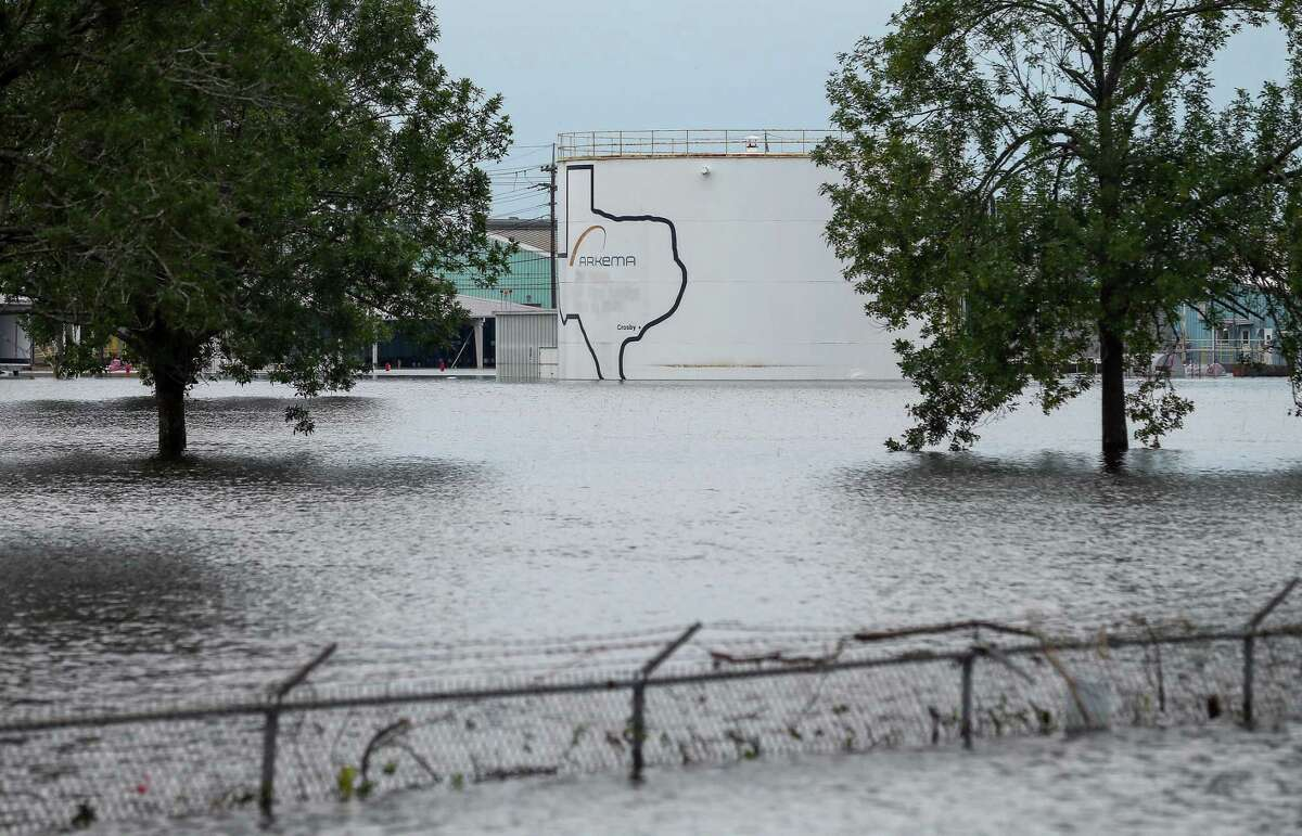 The Arkema Inc. chemical plant is flooded from Tropical Storm Harvey, Wednesday, Aug. 30, 2017, in Crosby, Texas. The plant, about 25 miles (40.23 kilometers) northeast of Houston, lost power and its backup generators amid Harvey?s dayslong deluge, leaving it without refrigeration for chemicals that become volatile as the temperature rises. (Godofredo A. Vasquez/Houston Chronicle via AP)