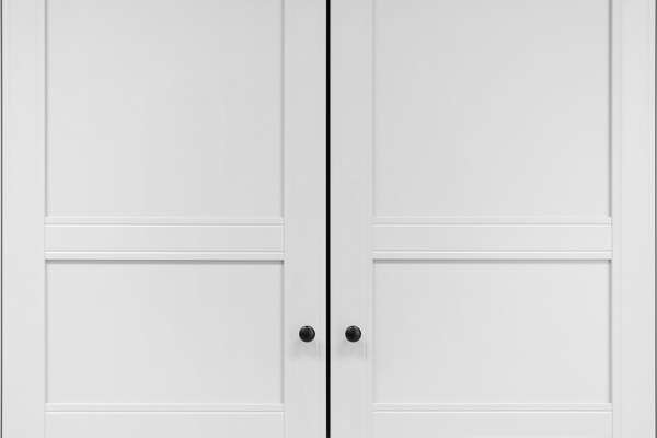 White cupboard doors with knobs