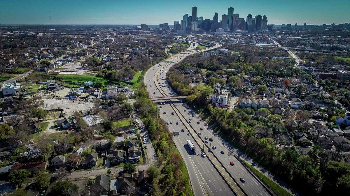 Interstate 45 winds toward downtown Houston, seen on Jan. 7, 2020. The impending Interstate 45 project will sever several properties.