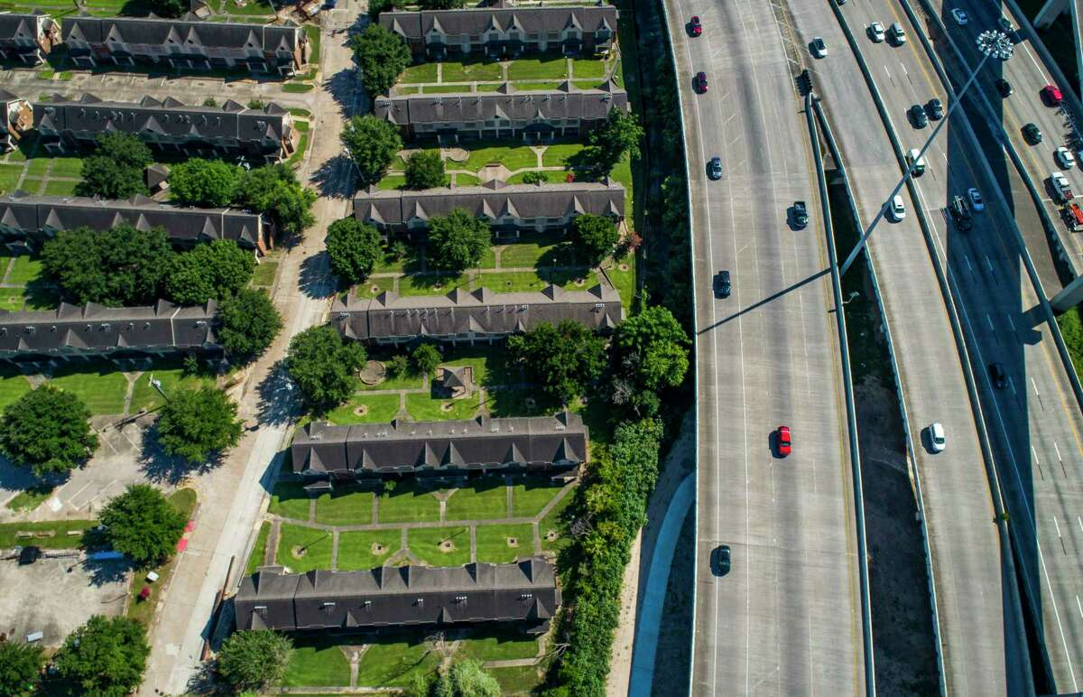 Interstate 69 crosses Buffalo Bayou northeast of downtown next to the Clayton Homes, a Houston Housing Authority complex in Houston, seen June 12, 2019. Clayton Homes would be demolished if current plans for redevelopment of Interstate 45 proceeds as planned.