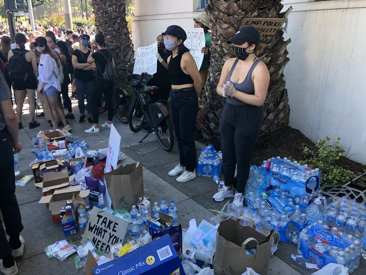 Tran said that many protesters helped donate to their pile.