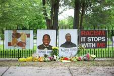A tribute to lost black lives was set up in front of Ridgefield Community Center by the Compassionate Ridgefield organization. Arts organizations around Ridgefield shared the image on their social media pages.