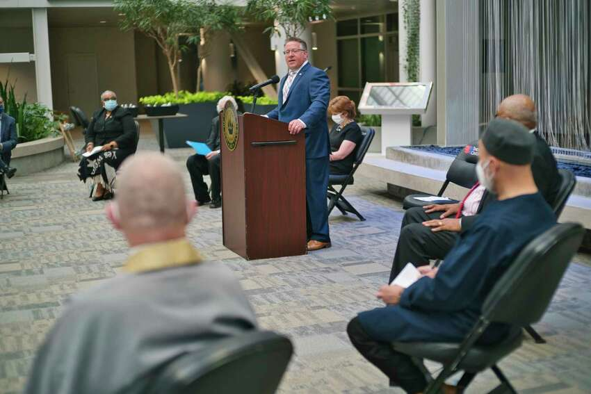Albany County Executive Dan McCoy speaks at a prayer vigil in the atrium of the Times Union Center on Thursday, June 4, 2020, in Albany, N.Y. (Paul Buckowski/Times Union)