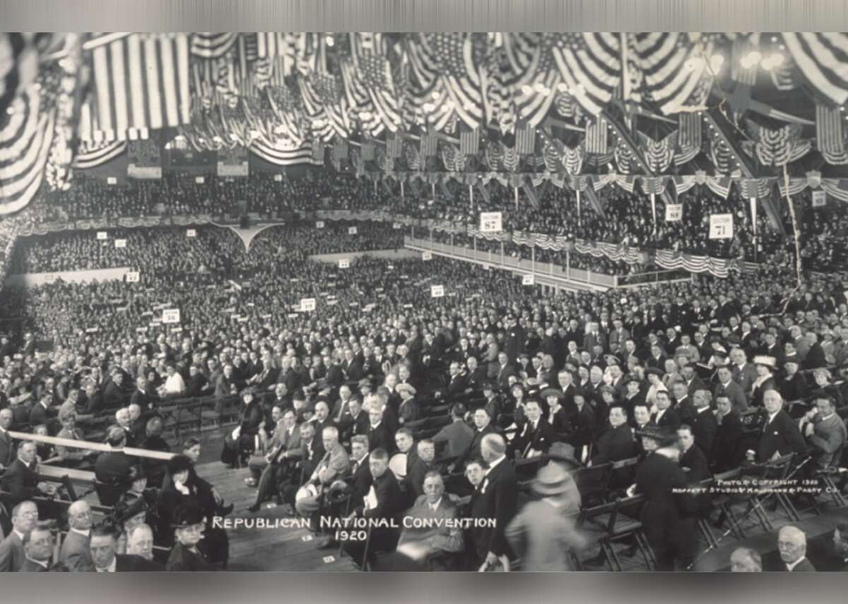 1920: Republican National Convention In June 1920, United States GOP delegates and other party members gathered in Chicago for the Republican National Convention. According to historians, the convention was at an impasse without a candidate everyone could agree on when leaders turned their attention to Ohio Sen. Warren G. Harding. The Midwestern senator was seen as a compromise and managed to secure the presidential nomination, picking up Calvin Coolidge as his running mate and defeating Democrat James M. Cox in the election. Here, the mass of delegates can be seen in the convention hall in this photo from the Library of Congress. This slideshow was first published on Stacker