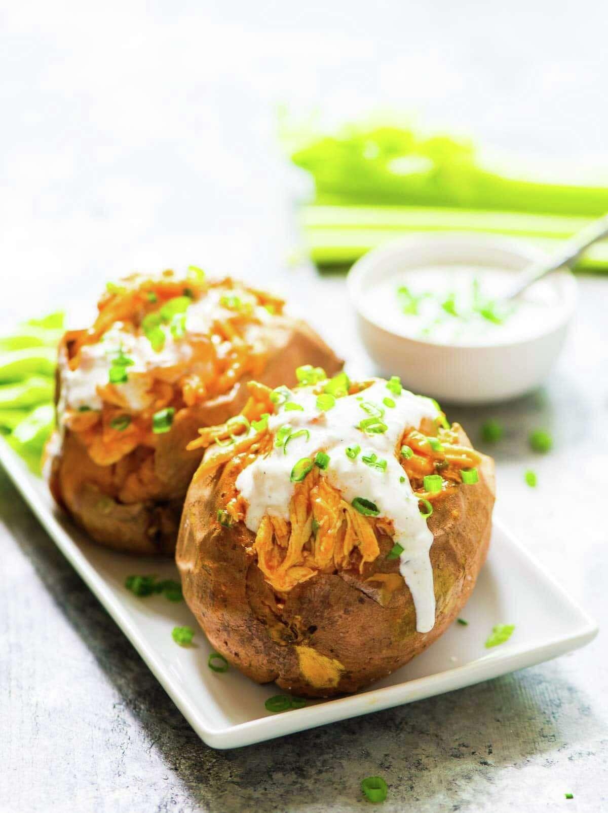 Buffalo Chicken Sweet Potatoes, by Erin Clarke, author of