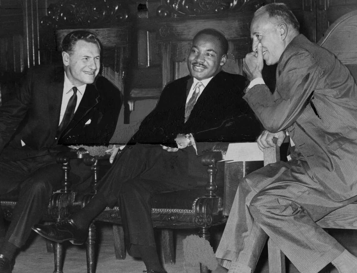 Gov. Nelson Rockefeller, left, Martin Luther King Jr., center, and Mayor Erastus Corning II, right, meet at the Capitol on June 17, 1961, in Albany. (Times Union archive)