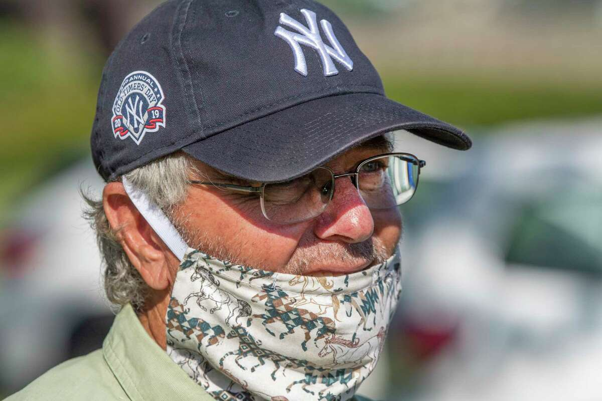 Trainer Bill Mott speaks with the media at the Oklahoma Training Center track as it opens for the first time this season Thursday June 4, 2020 in Saratoga Springs, N.Y. Photo Special to the Times Union by Skip Dickstein