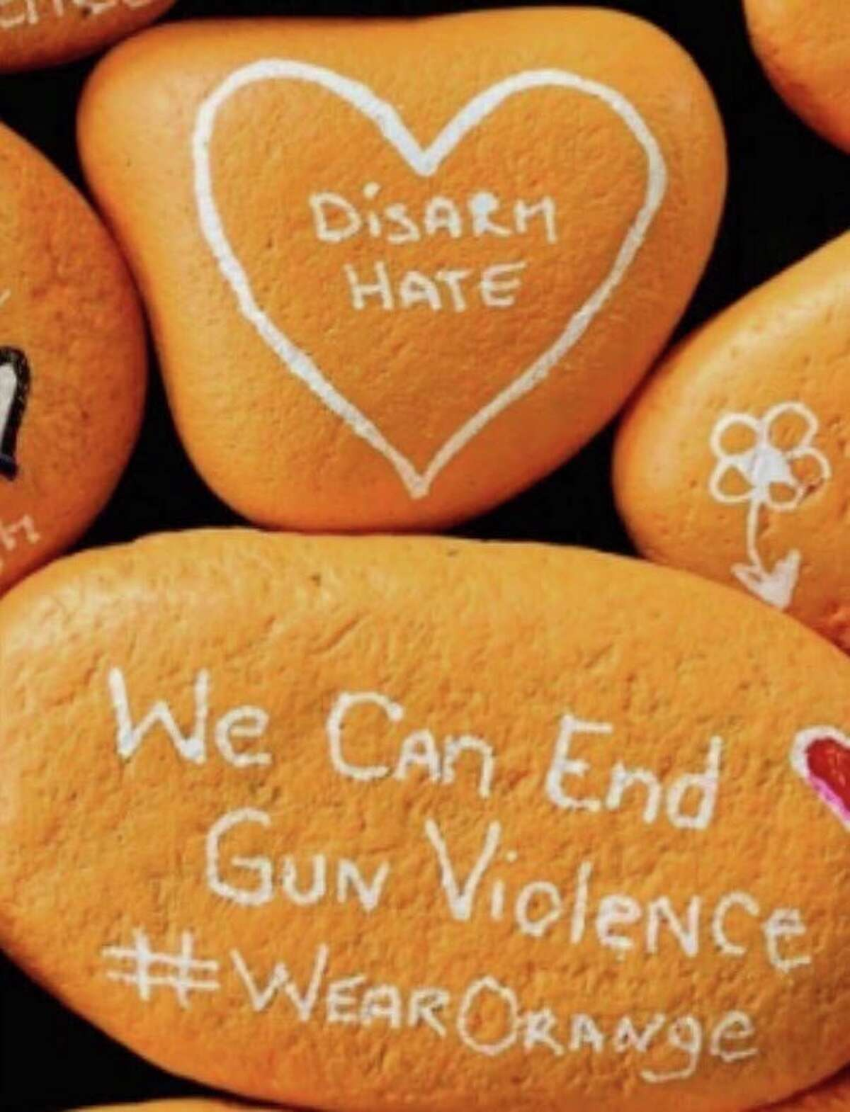 Shown is one of the rocks the Great Lakes Bay Region Moms Demand Action for Gun Sense in America is painting this year. The group will distribute the rocks around the community and to local organizations who work with victims of gun violence. (Photo provided)
