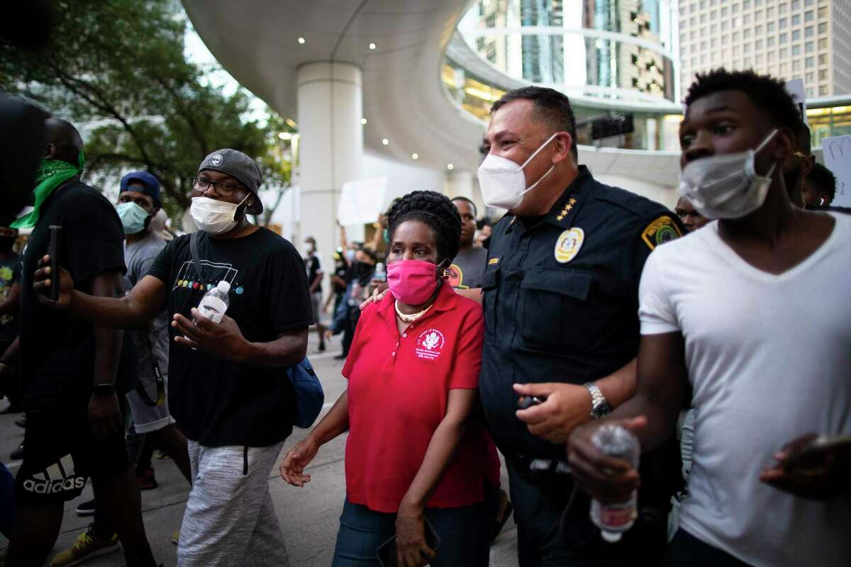 U.S. Representative Sheila Jackson Lee and Houston Police Chief Art Acevedo join a march on Saturday, May 30, in Houston against the death of George Floyd while in custody of the police in Minneapolis.