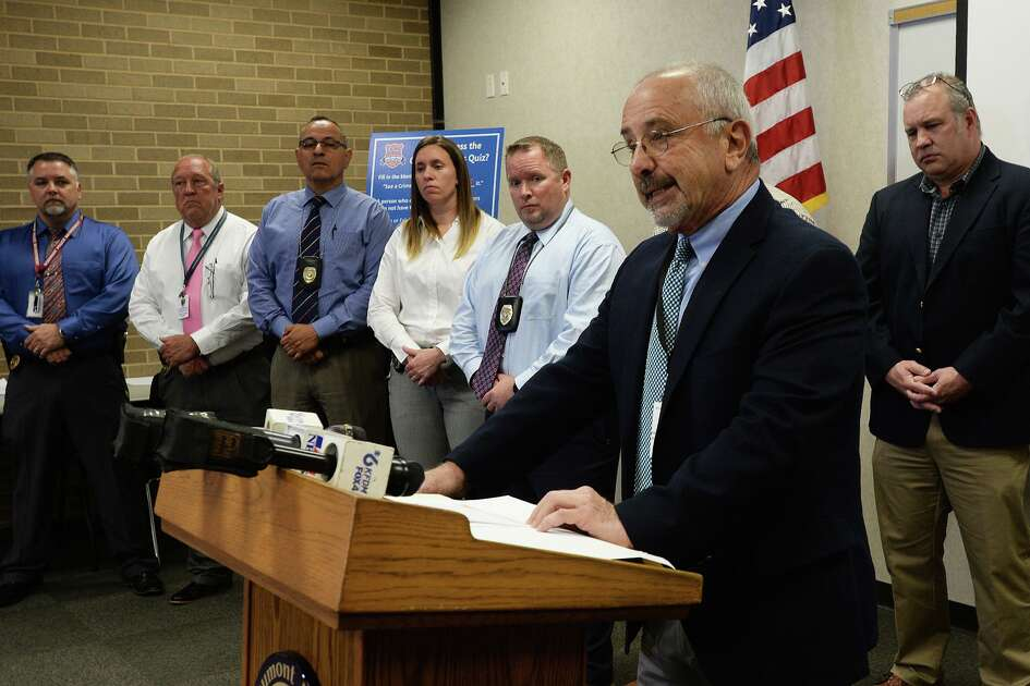 Beaumont Police Chief Jimmy Singletary addresses media Monday to answer questions about the Thursday evening murder of Anthony Wilson. Several detectives who worked the case can be seen in the picture. Photo taken Monday, 4/15/19