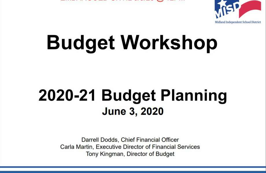 Midland ISD's budget workshop presentation. The proposed Midland ISD budget for the 2020-21 school year presented to board members this week called for more than $21 million in additional expenditures. Photo: Midland ISD