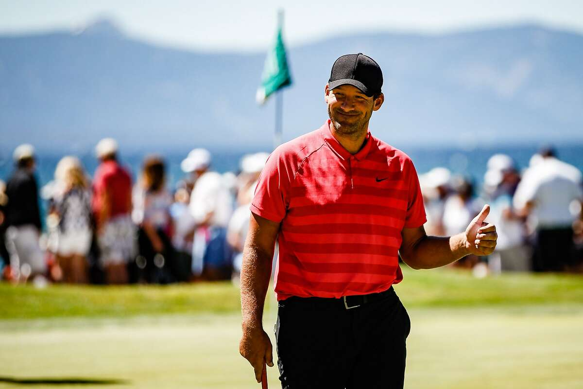 STATELINE, NEVADA - JULY 13: Tony Romo leaves the 18th hole after finishing round 2 of the American Century Championship in the lead at Edgewood Tahoe Golf Course on July 13, 2019 in Stateline, Nevada. ~~