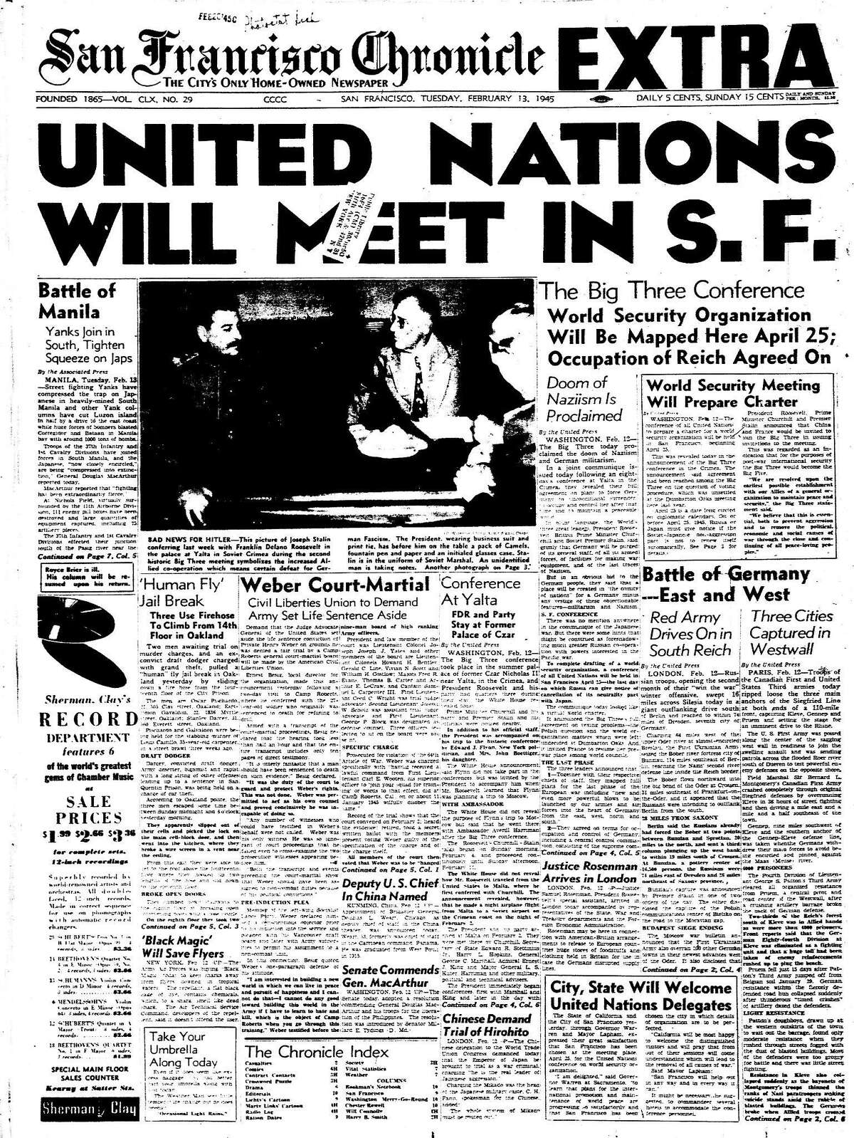 Chronicle front coverage of the UN Charter conference would be held in San Francisco