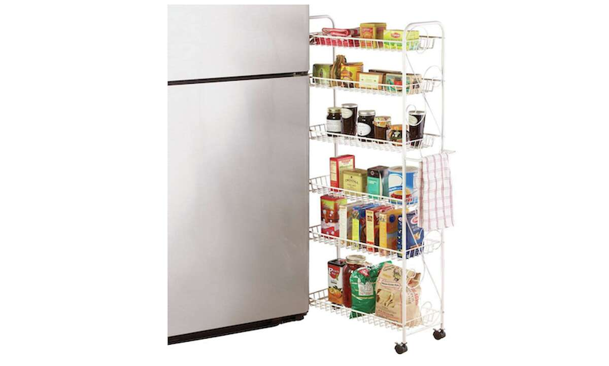 6-Tier Slim Rolling Pantry Do you know that sliver of area between your refrigerator and counter (or your fridge and wall)? Nothing more than a broom or two can usually fit there, but now, you can optimize this space with a rolling pantry. Fit those items that just did not make the cut in your kitchen cabinets on one of the six shelves of this rolling unit.