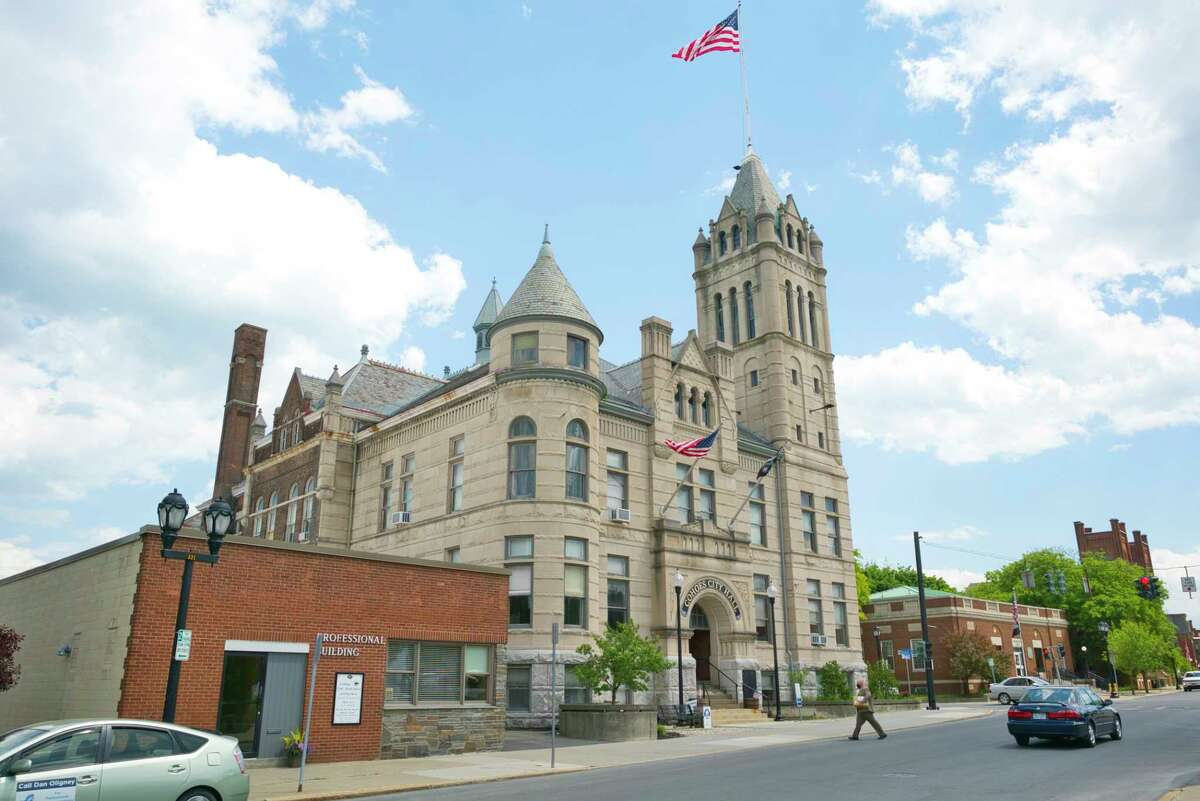 A view of Cohoes City Hall on Thursday, June 4, 2020, in Cohoes, N.Y. Sections of the roof are in need of emergency repair. (Paul Buckowski/Times Union)