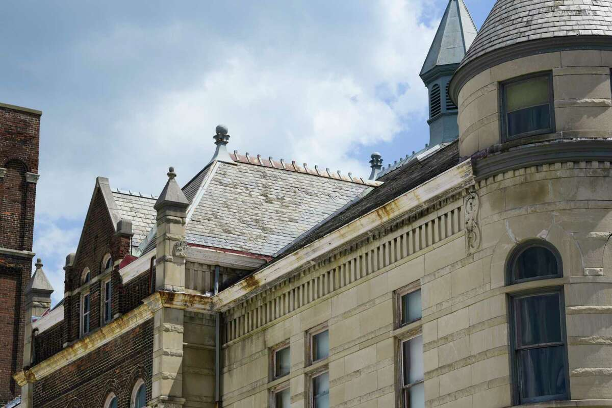A view of the slate roof on the Cohoes City Hall on Thursday, June 4, 2020, in Cohoes, N.Y. This section is in need of emergency repair, due to broken or missing slate tiles. (Paul Buckowski/Times Union)