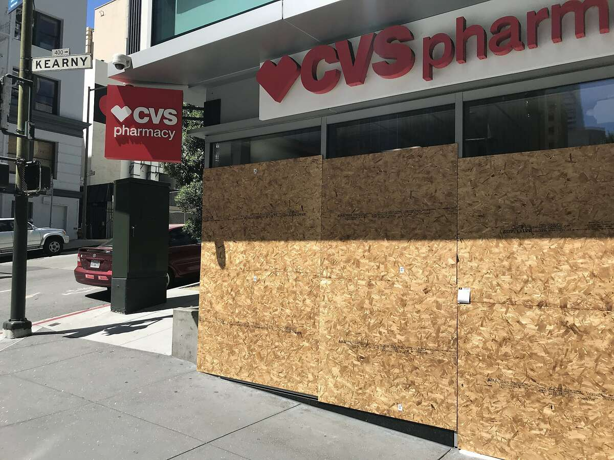 A boarded-up CVS pharmacy on June 4, 2020, in San Francisco, California.